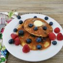 Blueberry No-Cornmeal Pancakes